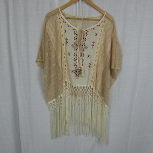 Miss Me Oversized Knit Peasant Shirt w/ Fringe